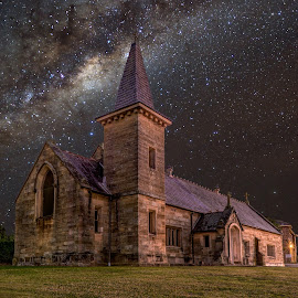 by Michael Lucchese - Buildings & Architecture Places of Worship ( atsrophotogray, astro, church, stars, australia, night, nsw, landscape, composite, sydney )