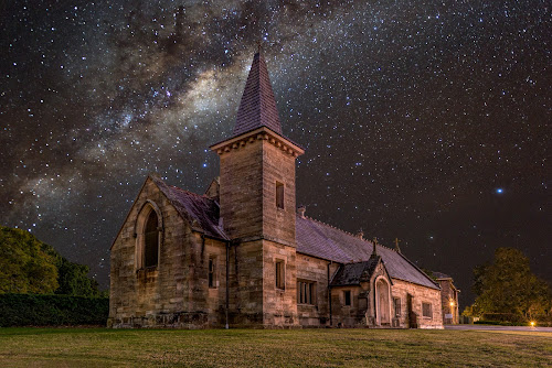 by Michael Lucchese - Buildings & Architecture Places of Worship ( atsrophotogray, astro, church, stars, australia, night, nsw, landscape, composite, sydney,  )