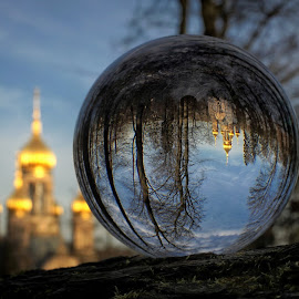 Russian Orthodox Church, Wiesbaden by Jerry Birchfield - Artistic Objects Glass ( ball, church, russian, glass, wiesbaden, orthodox, crystal, sony a6000 )