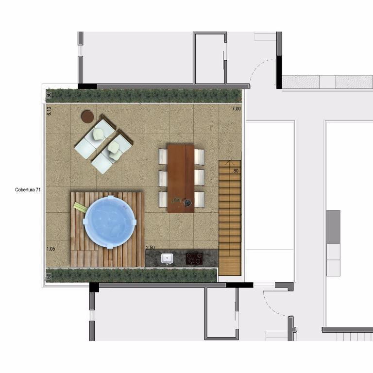 Planta Cobertura Pav Superior -  Unid 71 - 163 m²