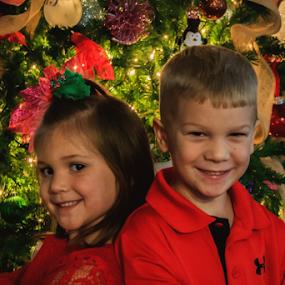 Twins, I Win by Jamie Hodge - Public Holidays Christmas ( christmas lights, christmas, christmas tree, kids, twins,  )