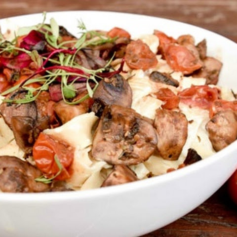 Cream Cheese Fettuccine With Sautéed Mushrooms And Tomatoes