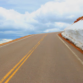 End of the Road by Kristy Shamburg - Transportation Roads ( pikes peak, snow banks, snow, colorado, road, wall )