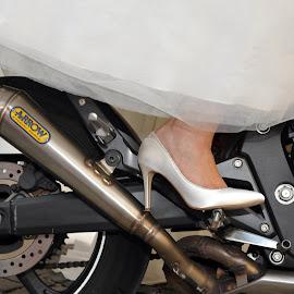 Bride. by Miro Trimay - People Body Parts ( stilllife, motorbike, wedding, bride, shoe )