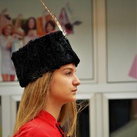 Folk customs by Alen Zita - People Musicians & Entertainers ( girl, guard, vinkovci, croatia, falcon )