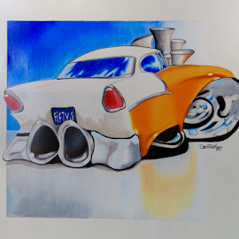 Fifty 5 Chevy by Dave Feldkamp - Drawing All Drawing ( orange, orange car, art, 1955 chevy, colored pencil art, drawing, ink, pencil, colored pencil, classic car, chevrolet, blue, car design, prismacolors )