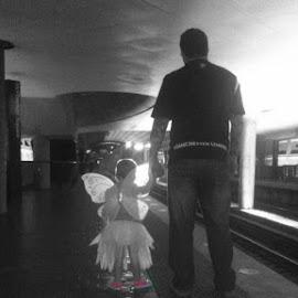 IMG_0029 by Ewelina Hutter - People Street & Candids ( tattoos, metro, daughter, fairy, father )