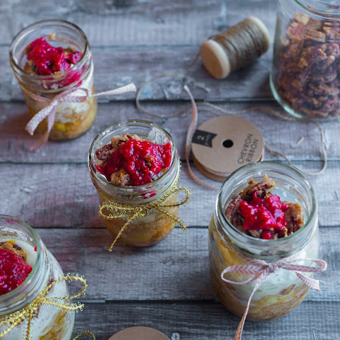 Apple Pie With Candied Pecans And Raspberry Sauce In A Jar
