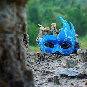 mask on the rock by Mohamad Hafizuddin - Artistic Objects Other Objects ( blue, mask, rock, object )
