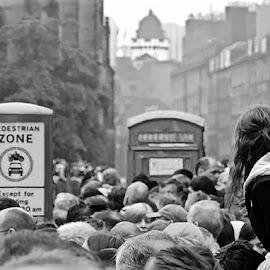 Anticipation - B&W by T. Rick Jones - City,  Street & Park  Street Scenes ( looking, parade, edinburgh, phone box, crowd )