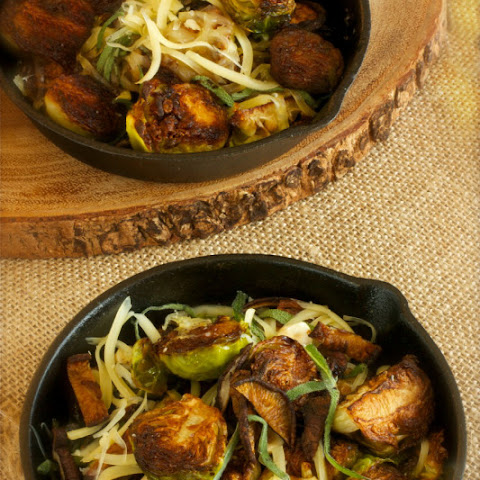 Brown Butter Brussels Sprouts with Crispy Shiitake Mushrooms