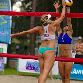 Beach volley by Simo Järvinen - Sports & Fitness Other Sports ( female, beach volley, outdoor, players, action, sports, summer, women )