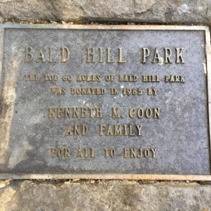 Bald Hill Park The top 60 acres of Bald Hill Park was donated in 1985 by Kenneth M. Coon and family For all to Enjoy