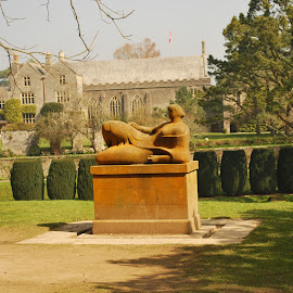 A Henry Moore statue at Dartington Hall by Pauleen Stewart - Buildings & Architecture Public & Historical ( countryside, statue, historical house, gardens, sunshine )