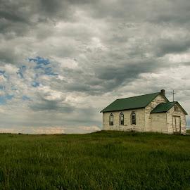Still Standing Proud by Bob Harriman - Landscapes Prairies, Meadows & Fields ( stormy, grassland, field, clouds, prariries, canada, church, storm, fields )