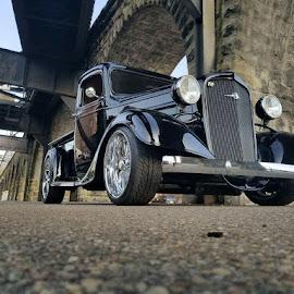 Back in black  by Rich Gatchel - Transportation Automobiles ( chevy, chevrolet, classic car, black, train )