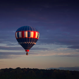 Balloon by RS Bartlett - Transportation Other ( hot air balloon, blue, colors, sunrise, golden )