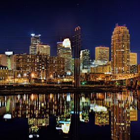 Minneapolis at night by Peter Stratmoen - City,  Street & Park  Night ( minnesota, night photography, minneapolis, cityscape, downtown, nightscape,  )