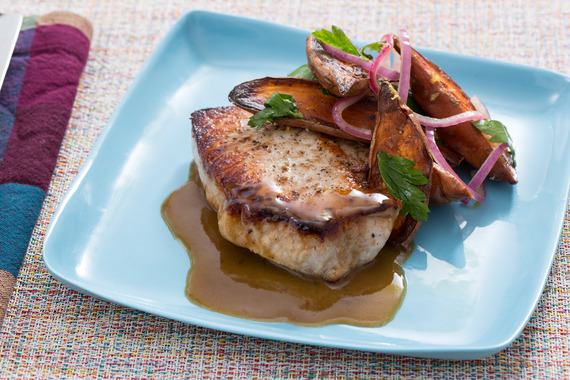 Seared Pork Chops with Roasted Sweet Potato Salad Recipe | Yummly