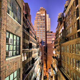 Mopped by Matthew Hladek - Buildings & Architecture Other Exteriors ( alleys, mops, bricks, windows, night, city at night, street at night, park at night, nightlife, night life, nighttime in the city )