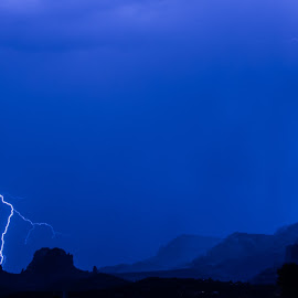 NEVER IN THE SAME PLACE by Stephen Smith - Landscapes Weather ( clouds, mountains, lightening, arizona, dark, weather, night, storm )