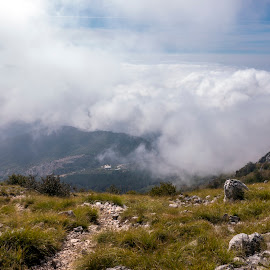 above the clouds by Gitti S - Novices Only Landscapes ( clouds, dinaric alps, rumija, montenegro, mountains, nature, above clouds, rocky, mountain path, view, landscape, hiking )