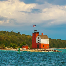 Little Mackinac Lighthouse by James Kirk - Buildings & Architecture Other Exteriors ( mackinac, red, lighthouse, little, island )