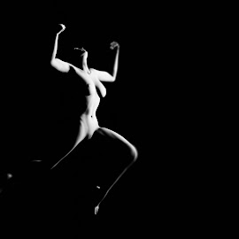 by Luke Walker - Digital Art People ( b&w, nude, woman, jump )