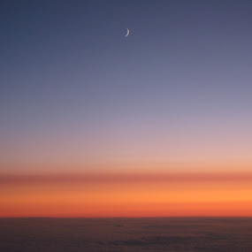 Moon in the sky by Nick Massar - Landscapes Starscapes ( clouds, orange, moon, unique, beautiful, atmosphere, nickolasmassar, landscape, dusk, pretty, sky, nature, blue, night, light )