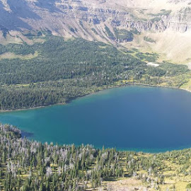 Oldman Lake from Pitamakan Pass by Joe Shaver - Landscapes Mountains & Hills ( nps, mountains, lakes, glacier national park )