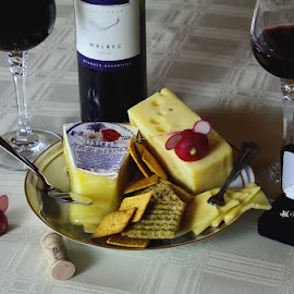 Light Snack by Kyric Designs - Food & Drink Meats & Cheeses ( wine, malbec, crackers, cheese, snack )