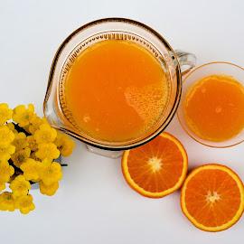 Orange by Heather Aplin - Food & Drink Fruits & Vegetables ( orange, buttercups, juice, white, glass, yellow, jug )
