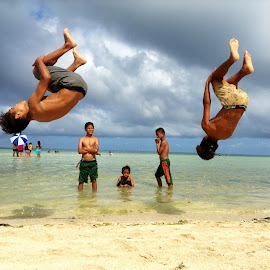 Summer Flips! by Dick Shia - Babies & Children Children Candids ( boys, action, flipping )