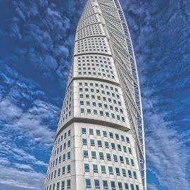 Turning Torso by Buffan Walter - Buildings & Architecture Homes ( clouds, sweden, living quarter, scania, architecture, tallest, city, skys the limit, modern, malmoe, blue sky, malmö, blue, turning torso, turnintorso, livinquarter, homes, tall,  )