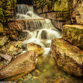 Cascading water in the Lakes by Andy Young - Landscapes Waterscapes ( water, england, uk, cumbria, waterfall, long exposure, derwent water, lake district )