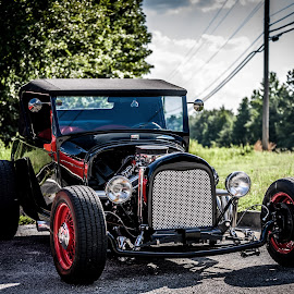 Ford Hotrod by Liam Douglas - Transportation Automobiles ( car, old, red, vintage, green, coupe, hotrod, trees, ford, antique, black )