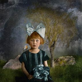 Ladybird by Tina Bell Vance - Digital Art People ( girl child, bluebird, blue, vintage, digital manipulation, digital art, ladybird, ladybug )