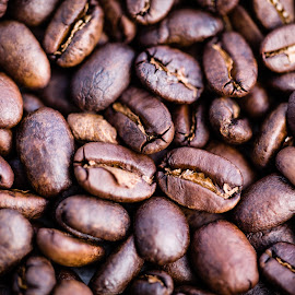 Fresh Roast by Tom Whitney - Food & Drink Ingredients ( smell, grind, macro, warm, fresh, horizontal, beans, drink, coffee, dark, brown, roast, close up, closeup )