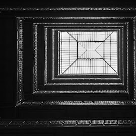 Hotel Skylight by Carl Albro - Buildings & Architecture Other Interior ( railing, black and white, skylight, architecture )
