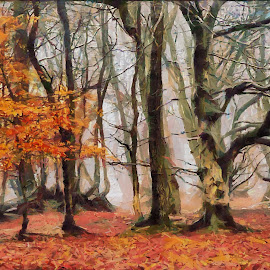 Deep in winter by Luke Walker - Painting All Painting ( red, fall colors, nature, fall, trees, oil art )