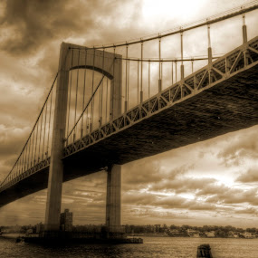 Throgs Neck Bridge by Chip Bolcik - Buildings & Architecture Bridges & Suspended Structures ( pwcotherworldly )