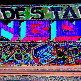 Trippy Shipping Container by Matthew Jensen - Digital Art Abstract ( train car art, seattle street art, sodo seattle street art, psychedelic digital art, seattle washington, trippy train cars )