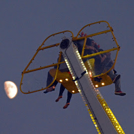 Moon Ride by Patti North - City,  Street & Park  Amusement Parks ( ride, moon, amusement park )
