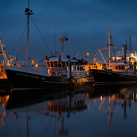 In the Dead Of Night by Garry Dosa - Transportation Boats ( still, outdors, night, boats, water, lights, vessels )
