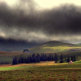 L'Auvergne by Danielle Baron - Landscapes Mountains & Hills ( farm, hills, moutains, storm )