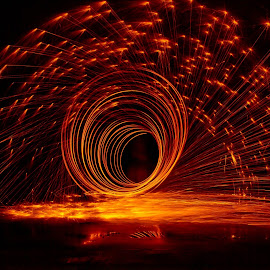Black Hole by Brenda Hooper - Abstract Fire & Fireworks ( orange, light painting, steel wool, black,  )