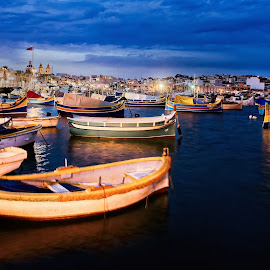 Boats in harbour of Marsaxlokk by Michaela Firešová - City,  Street & Park  Night ( harbour, boats, evening, lights )