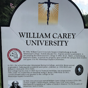 In 1906, William Carey University began in Hattiesburg as South Mississippi College. Noted educator W.I. Thames served as president. A devastating fire destroyed the college in 1910. W.S.F. Tatum, ...