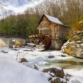 Winter Dressed West Virginia Mill by Norma Brandsberg - Buildings & Architecture Public & Historical