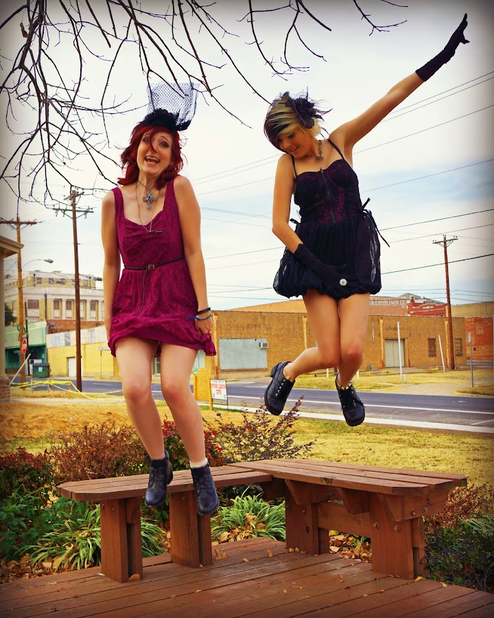 Girls Having Fun! by Teresa Delcambre - People Couples ( girls, silly, bench, teen, dresses, fun, jump )